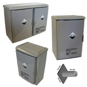 A variety of plastic cabinets for chemical storage.