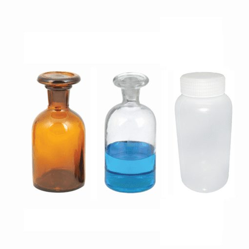Photo of one plastic and two glass reagent bottles.
