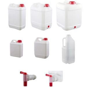 Plastic storage Jerry Cans and Flagon bottles