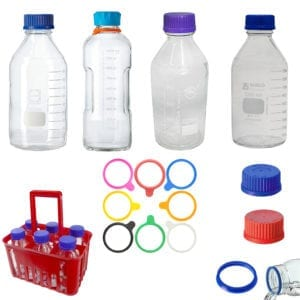 Variety of lab bottles, holder and lids.