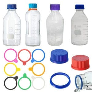 Variety of lab bottles, holder and lids.
