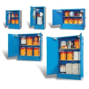 A variety of metal corrosive cabinets.