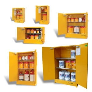 A variety of flammable metal cabinets.