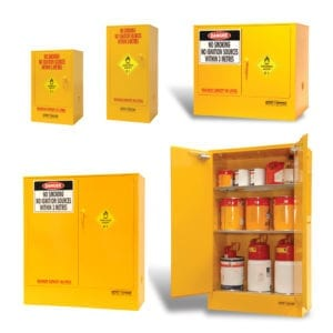 A variety of metal cabinets for oxidising chemicals.
