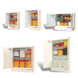 A variety of metal cabinets for toxic chemicals.