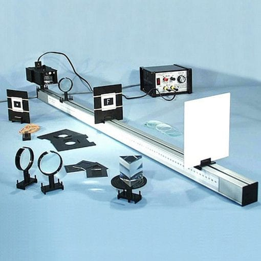 An optical bench with accessories.