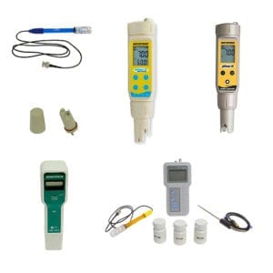 Photo of assorted pH meters.