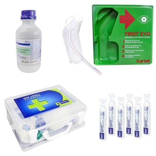 Eyewash accessories including saline solutions and eyewash stations.