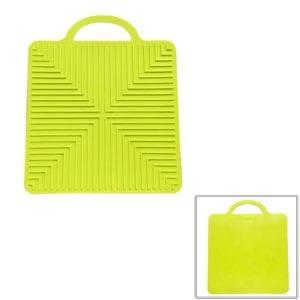 A light khaki green silicone bench mat.